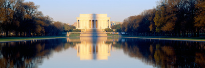 Lincoln Memorial in Shadow of Washington Monument at Dusk, Washington Dc Photographic Print by Panoramic Images