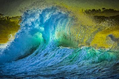 Painted Wave Photo at Papohaku Beach, West End, Molokai, Hawaii Photographic Print by Richard Cooke III