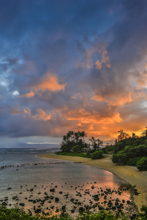 Sunset at Morse Point Along the East End Road, Molokai, Hawaii Photographic Print by Richard Cooke III