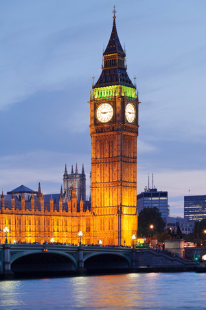 View of Big Ben and Houses of Parliament with Westminster Bridge at Thames River Photographic Print by Green Light Collection