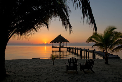 Pier with Palapa on Caribbean Sea at Sunrise, Maya Beach, Stann Creek District, Belize Photographic Print by Green Light Collection