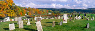 Smithfield Cemetery and Farms in Autumn, Smithfield, New York Photographic Print by Panoramic Images