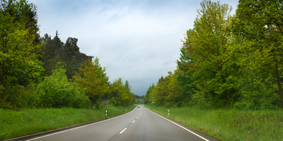 Car on Wet Highway in Springtime, Baden-Wurttemberg, Germany Photographic Print by Panoramic Images