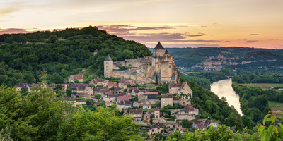Chateau De Castelnaud Castle and Dordogne River at Sunset Photographic Print by Panoramic Images