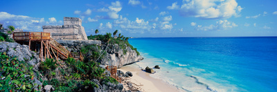 A Panoramic of Mayan Ruins of Ruinas De Tulum (Tulum Ruins) and El Castillo at Sunset Photographic Print by Panoramic Images