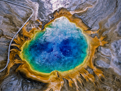 Aerial View of the Colorful Grand Prismatic Spring Metal Print by Tom Murphy
