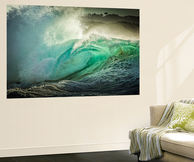 Wave Photo at Papohaku Beach, West End, Molokai, Hawaii Wall Mural by Richard Cooke III