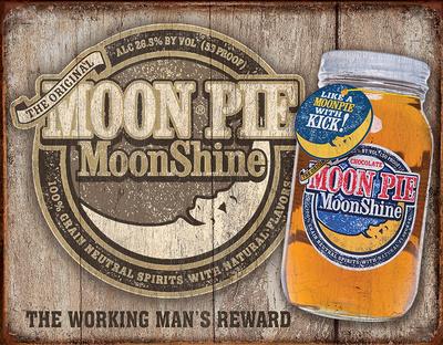 Moon Pie Whiskey Tin Sign