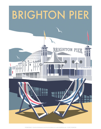 Brighton Pier - Dave Thompson Contemporary Travel Print Prints by Dave Thompson