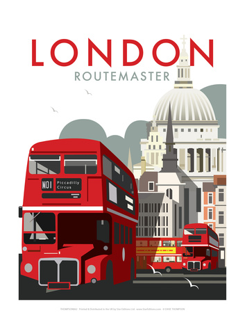 London Routemaster - Dave Thompson Contemporary Travel Print Posters af Dave Thompson