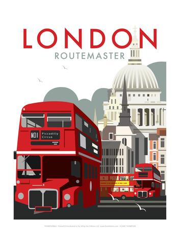London Routemaster - Dave Thompson Contemporary Travel Print Posters av Dave Thompson