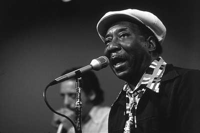 Bluesman Muddy Waters (1915-1983) on Stage in 1982 Foto