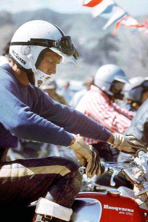 American Actor Steve Mac Queen Taking Part into a Cross Sponsored by Husqvarna C. 1971 Photo