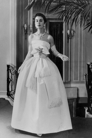 White Evening Dress by Dior, February 1958 Photo