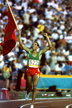 Olympic Games in Los Angeles, 1984 : Moroccan Athlet Said Aouita Win the 5000M Photo