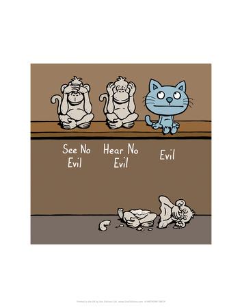 Evil. - Antony Smith Cattitude Cartoon Print Print by Antony Smith
