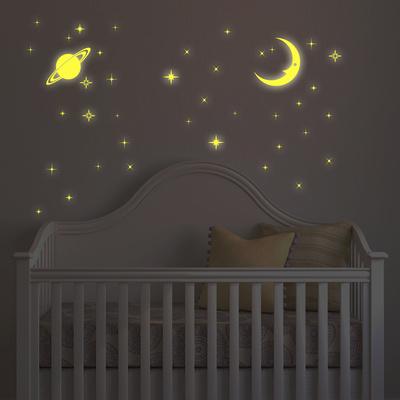 Glow In The Dark Moon And Stars Kalkomania ścienna