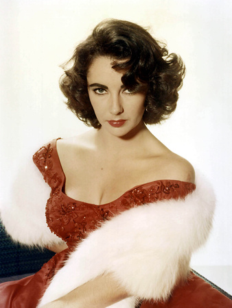 American Actress Elizabeth Taylor with a Red Dress and a Fur Stole C. 1959 Photo