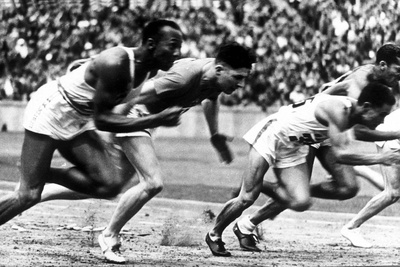 """James Cleveland """"Jesse"""" Owens, American Athlete at Departure of 100M Race at Olympic Games in 1936 Photo"""