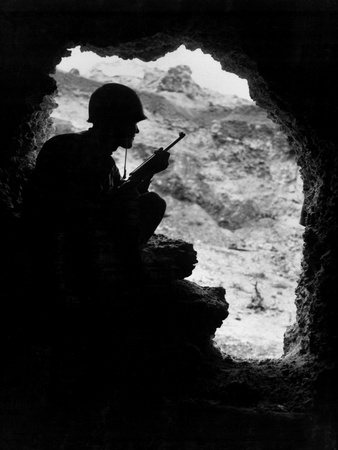 Pacific Front During Okinawa Battle, April-June 1945 : Us Marines Sights on a Japanese Sniper Photo