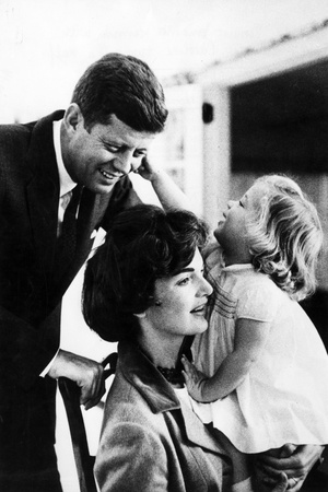 John and Wife Jackie Kennedy with their Daughter Caroline in USA in 1961 Photo