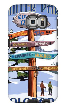 Winter Park, Colorado - Sign Destinations Galaxy S6 Edge Case by  Lantern Press