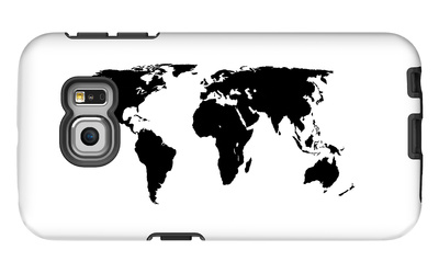 World Map - Black On White Galaxy S6 Edge Case by  Jacques70