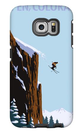 Skier Jumping - Aspen, Colorado Galaxy S6 Edge Case by  Lantern Press