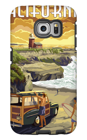 California Coast - Woody and Lighthouse Galaxy S6 Edge Case by  Lantern Press