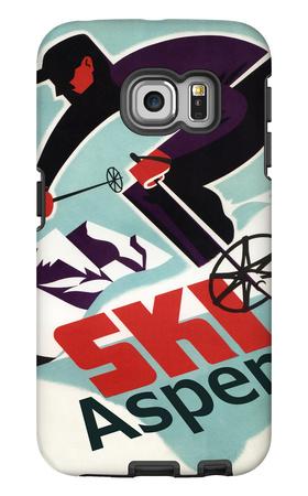 Ski in Colorado Vintage Skier - Aspen, Colorado Galaxy S6 Edge Case by  Lantern Press