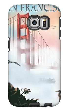 Golden Gate Bridge in Fog - San Francisco, California Galaxy S6 Edge Case by  Lantern Press