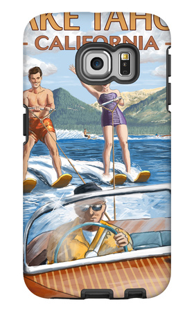 Lake Tahoe, California - Water Skiing Scene Galaxy S6 Edge Case by  Lantern Press