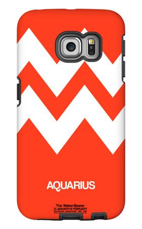 Aquarius Zodiac Sign White on Orange Galaxy S6 Edge Case by  NaxArt