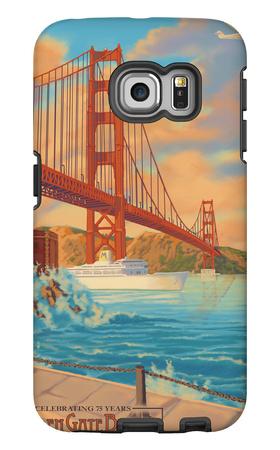 Golden Gate Bridge Sunset - 75th Anniversary - San Francisco, CA Galaxy S6 Edge Case by  Lantern Press
