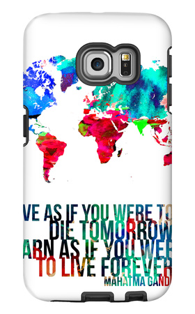 World Map Quote Mahatma Gandi Galaxy S6 Edge Case by  NaxArt