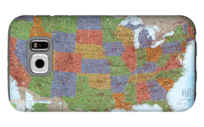 United States Political Map, Decorator Style Galaxy S6 Case by  National Geographic Maps