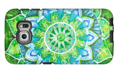 Abstract Green Painted Picture with Circle Pattern, Mandala of Anahata Chakra Galaxy S6 Edge Case by  shooarts