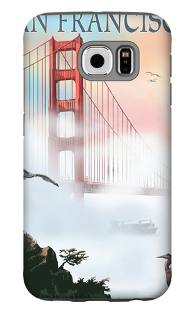 Golden Gate Bridge in Fog - San Francisco, California Galaxy S6 Case by  Lantern Press