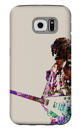 Hendrix With Guitar Watercolor Galaxy S6 Case by  NaxArt