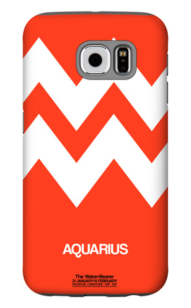 Aquarius Zodiac Sign White on Orange Galaxy S6 Case by  NaxArt