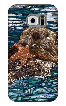 Sea Otter - Paper Mosaic Galaxy S6 Case by  Lantern Press