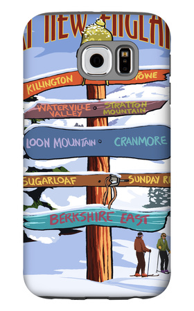 New England - Ski Areas Sign Destinations Galaxy S6 Case by  Lantern Press