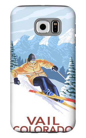 Vail, CO - Vail Downhill Skier Galaxy S6 Case by  Lantern Press