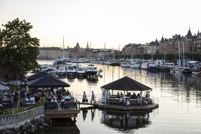 View over the Buildings and Boats Along Strandvagen Street, Stockholm, Sweden, Scandinavia, Europe Photographic Print by Yadid Levy