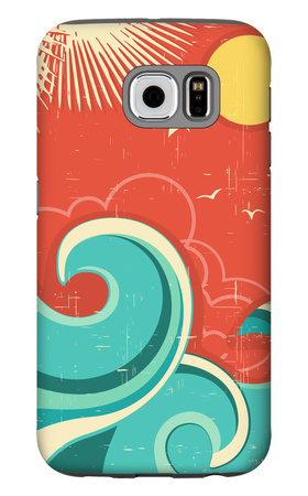 Vintage Tropical Background With Sea Waves And Sun Galaxy S6 Case by  GeraKTV