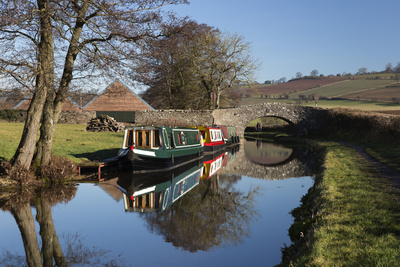 Barges on the Monmouthshire and Brecon Canal Photographic Print by Stuart Black