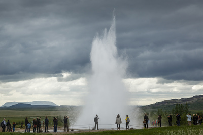 Strokkur Geyser, Geysir, Golden Circle, Iceland, Polar Regions Photographic Print by Yadid Levy
