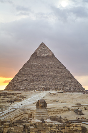 Sunset, Sphinx in Foreground and the Pyramid of Chephren, the Pyramids of Giza Photographic Print by Richard Maschmeyer