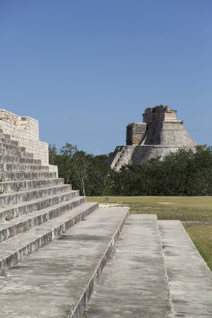 Palace of the Governor on the Left and Pyramid of the Magician Beyond Photographic Print by Richard Maschmeyer