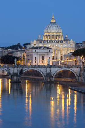St. Peter's Basilica, the River Tiber and Ponte Sant'Angelo at Night, Rome, Lazio, Italy Photographic Print by Stuart Black